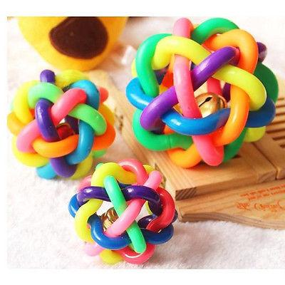 New Pet Dog Toys Cat Puppy Chewing Rubber Rainbow Round Ball