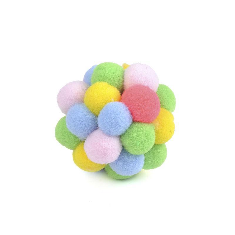 Pet Cat Colorful Handmade Bells Bouncy Ball Catnip Interactive JT