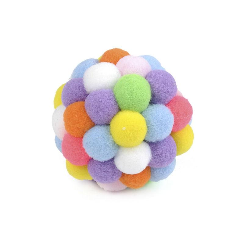Pet Colorful Handmade Bells Bouncy Ball Built-In Catnip Toy