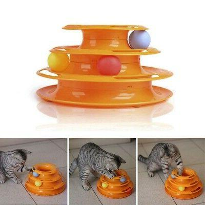 US Cat Amusement Plate Trilaminar Cat Kitty Crazy Ball Disk Toy