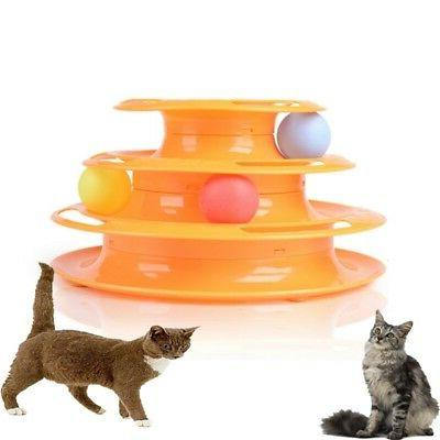 Pet Cat Crazy Ball Disk Interactive Amusement Plate Trilaminar Funny Toy