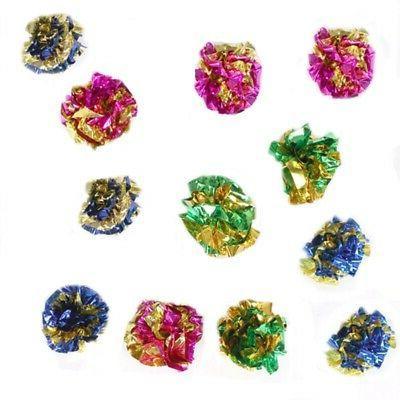 12pcs Colorful Crinkle Cat Kitten Mylar Ball