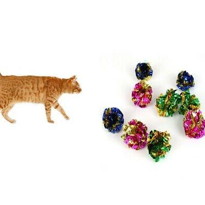 12pcs Pet Cat Crinkle Balls Kitten Toy Mylar