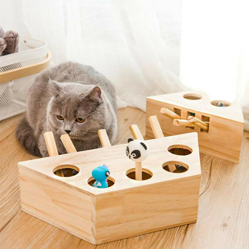 Pet Cat Dog Hunt Toy Indoor Wooden Interactive 3/5-holed Mou