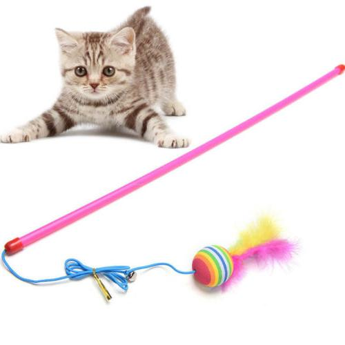 Pet Cat Kitten Mouse Wand Feather Rod Cat Interactive