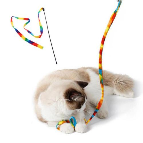Pet Kitten Mouse Wand Feather Rod Play Interactive