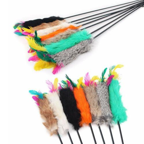 Pet Cat Kitten Mouse Teaser Wand Feather Rod Cat Interactive