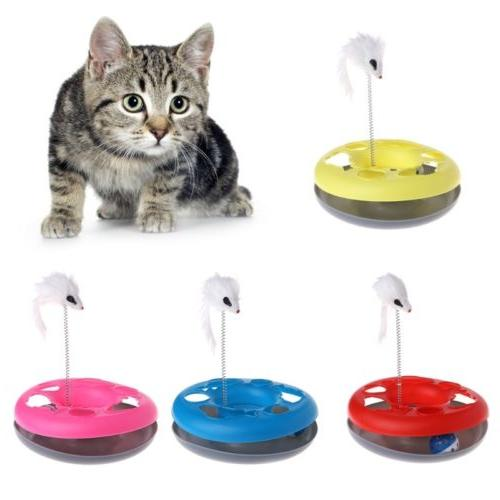 pet cat moving mouse spring ball turntable