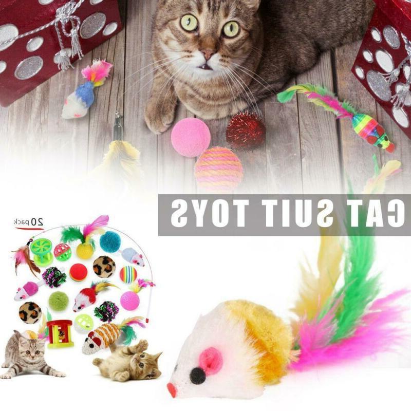 Pet Lot Bell Catnip Play Feathers Teaser Wand