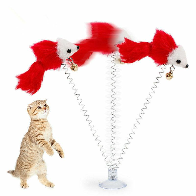 Pet Dog Cat Cut Toys Play Spring Mouse Colorful Toy With Bell Supplies