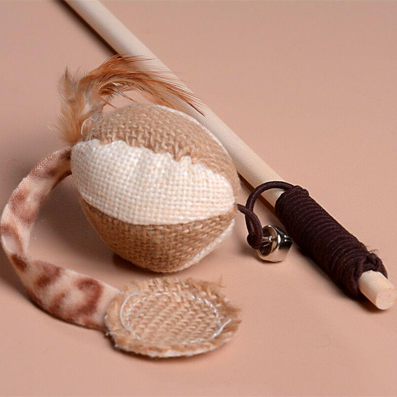Pet Bird Feather Wooden Wand for