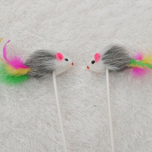 Pet Dog Cat Funny Play Colorful Feather Stick Supplies