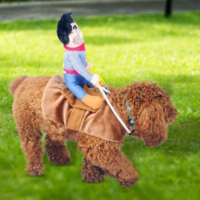 Pet Cowboy Costume Horse Jacket Clothes Puppy Cat Toy