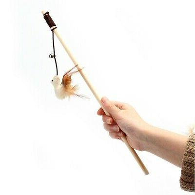 Pet Dog Puppy Cat Kitten Interactive Toys Teaser Wand Feather Funny