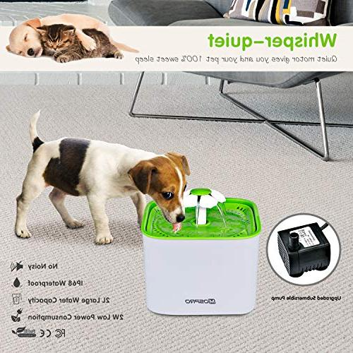 MOSPRO Drinking Fountain Ultra Quiet Electric Bowl 2 for Dogs Birds and Small Caring and