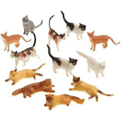 Plastic Cat Figures 24 Count - 2 Styles 2 Packs of