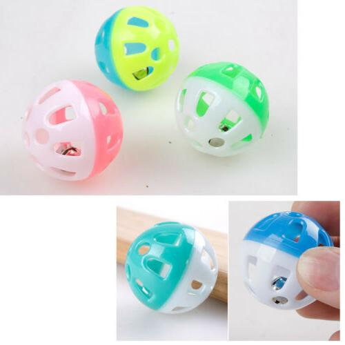 Plastic Cat Kitty Round Play Ball Bell Pounce Funny Toys
