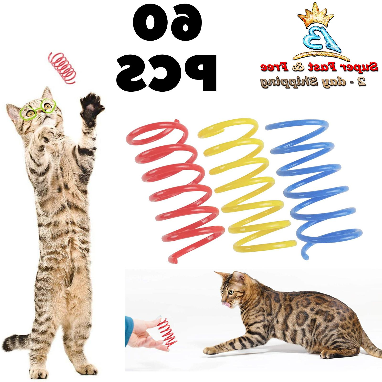 plastic springs cat interactive toys 60 pack