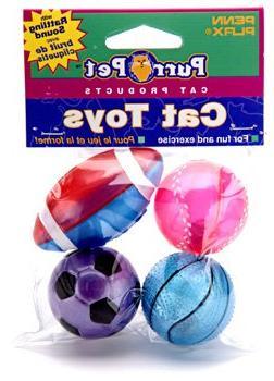 4 Pack Purr-Pet Sports Balls Cat Toy