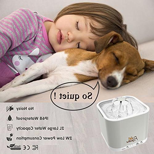 Flightbird 1.5m Pet Water Working Modes,2L Super Silent Drinking Feeder with Light & 3 Filters Dog