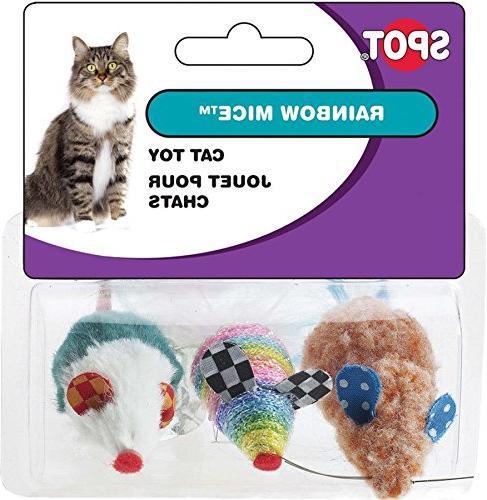 rainbow mice cat toy