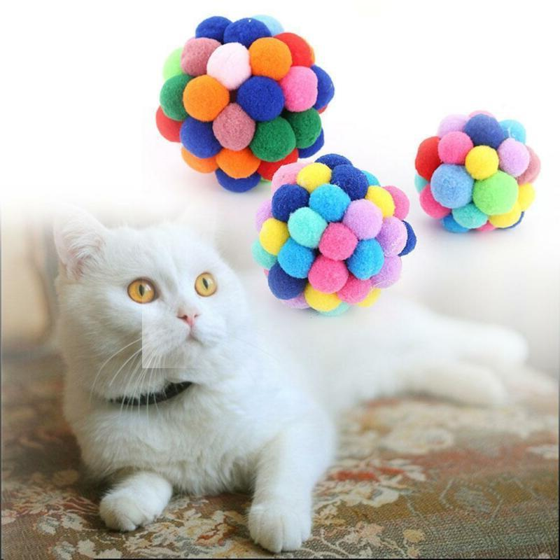 New Pet Toys Colorful Handmade Bells Ball Interactive