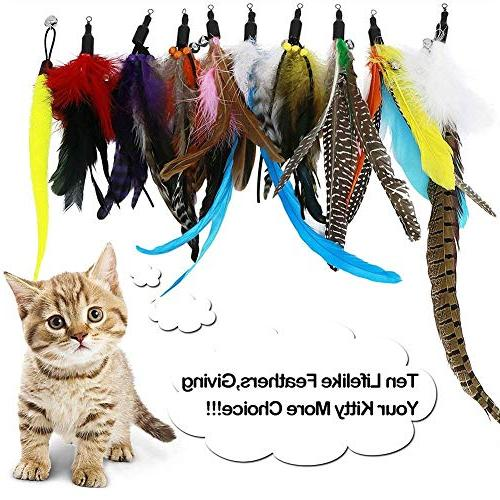 B Toys Feather Wand Toy with 2 Poles 10 Attachments Birds for Cats