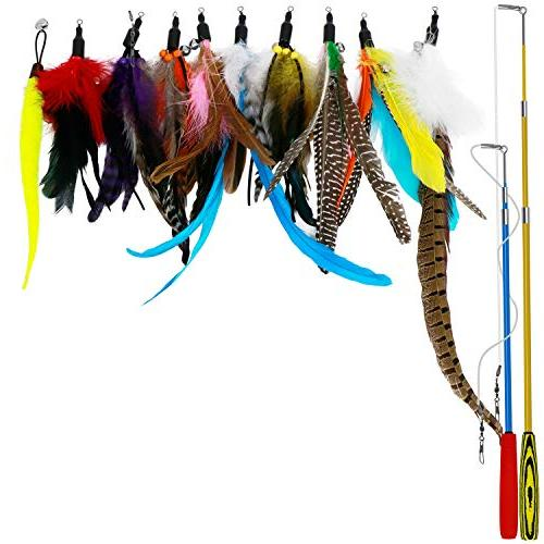 retractable cat toys interactive feather