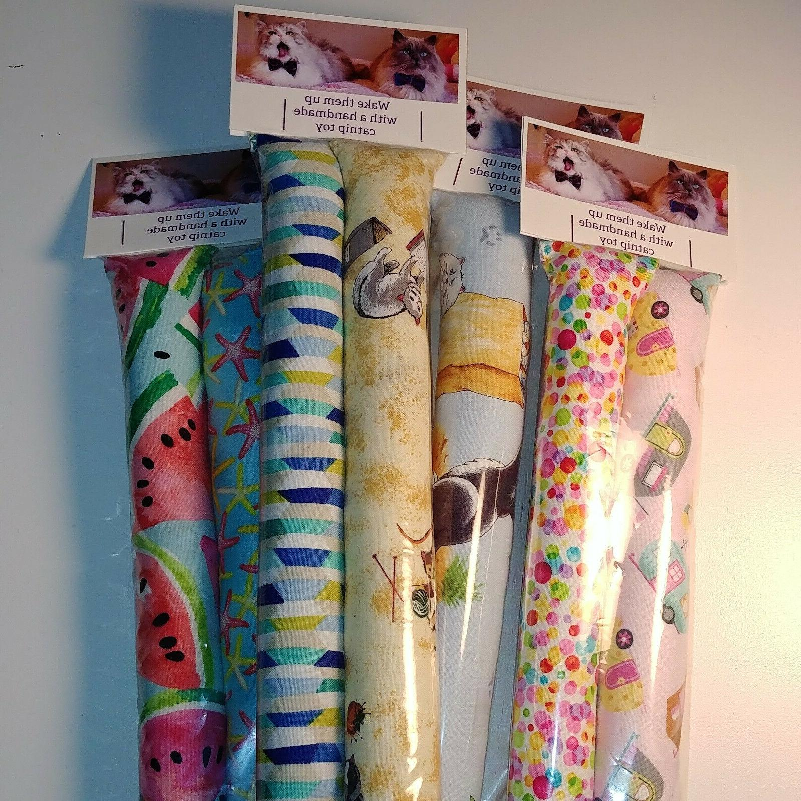 "Set - 11"" Catnip Kicker Sticks Cat Toys Girly Prints"