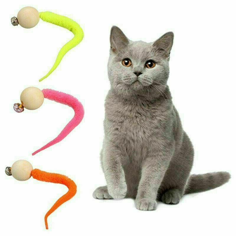 simulation worm toy with bell for pet