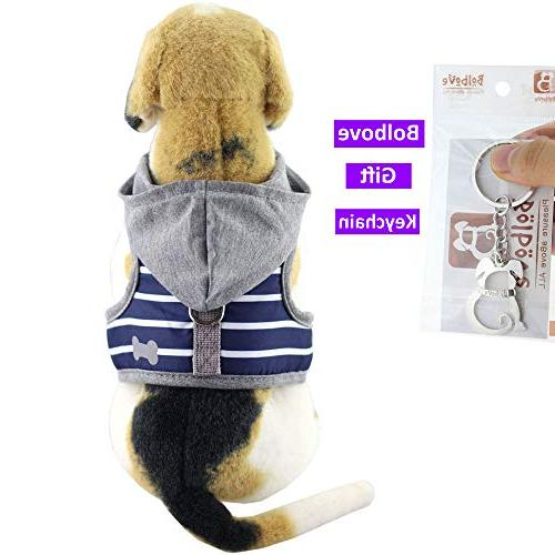 Bolbove Soft Stripe Vest Harness Leash Hood Small Dogs