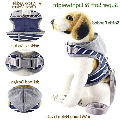 Bolbove Soft Pet Stripe Vest Harness and Leash Grey Hood for Cats Dogs