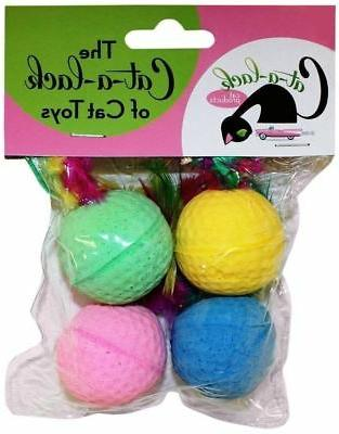 spongeballs with feathers cat toys 4 pack