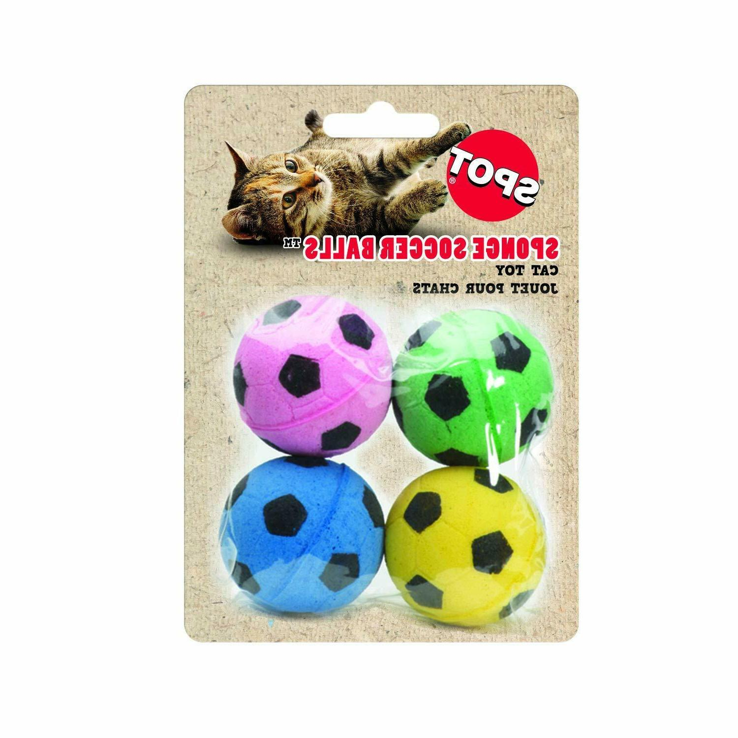 SPOT ETHICAL SPONGE SOCCER BALLS 4 PACK CAT TOY KITTEN. FREE