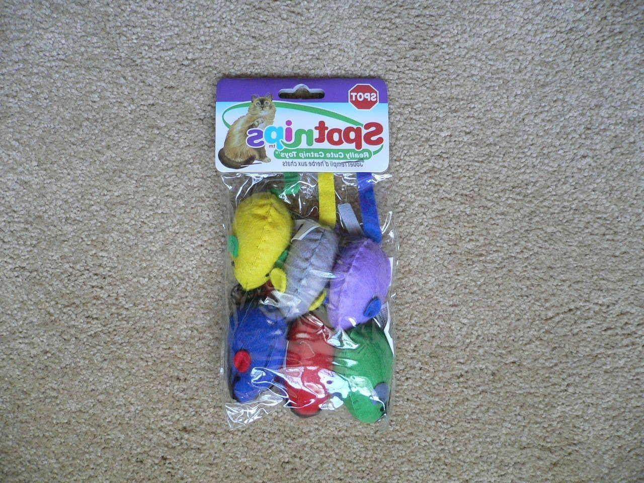 spotnips 6 pack colorful felt mice cat