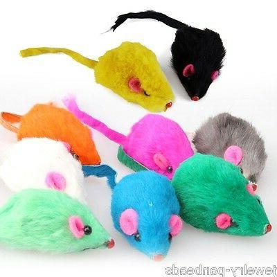 US 10pcs/set Pet Fur False Mouse Kitten Funny Playing Toys