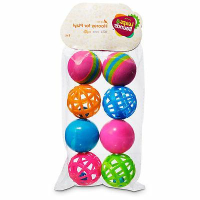 Leaps & Bounds Variety Pack of Balls Cat Toys, Pack of 8 Bal