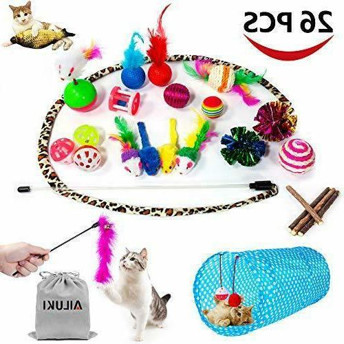 variety catnip toy set including 2 way