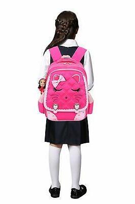 Waterproof School Girls Kids Bookbag Primary Students Cat Face