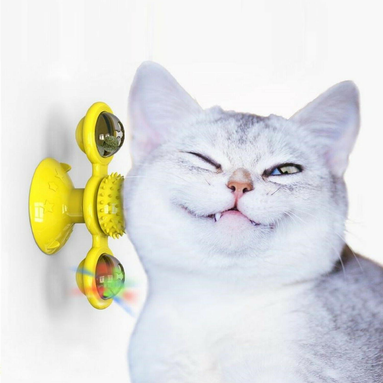 Windmill Toys Spinner Kitten LED Catnip Ball - Yellow