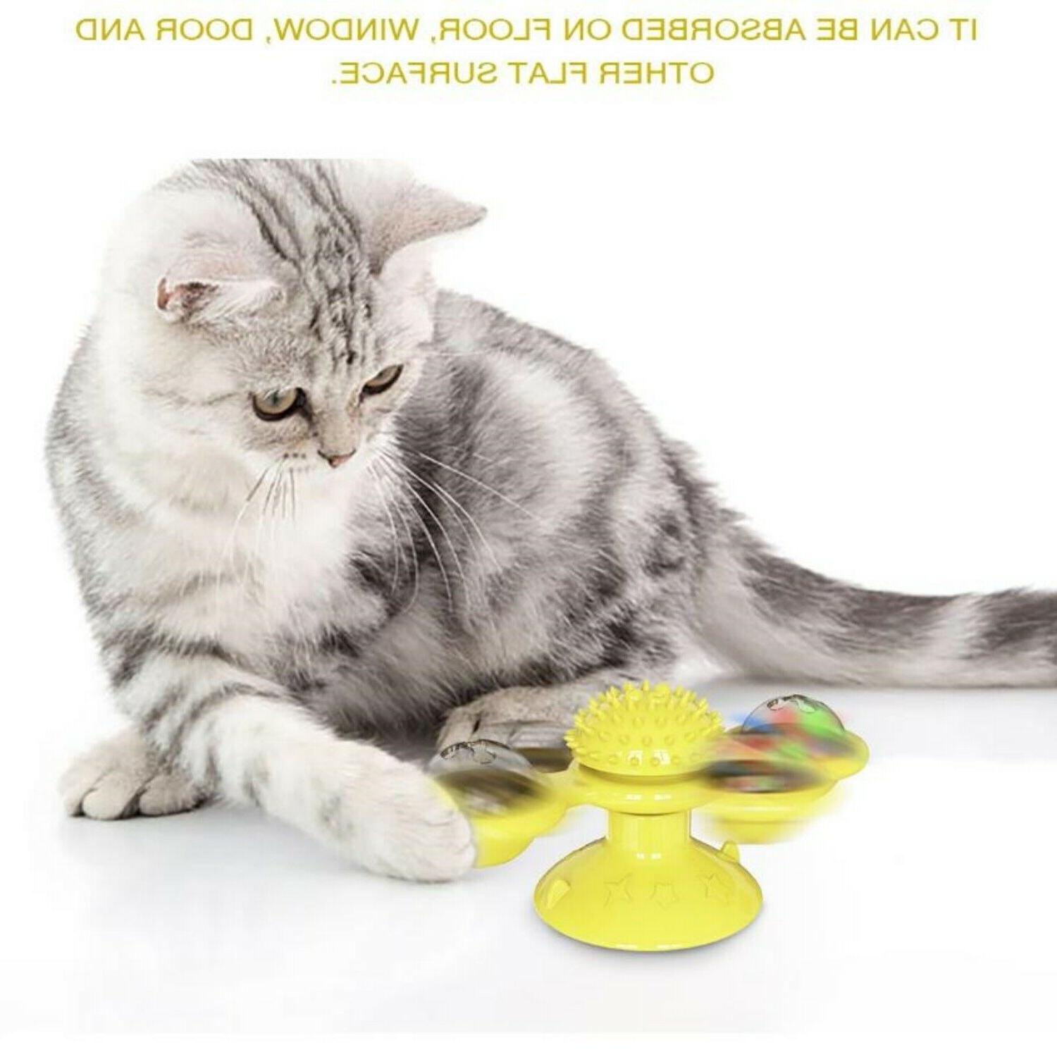 Windmill Spinner for Kitten LED and Catnip - Yellow