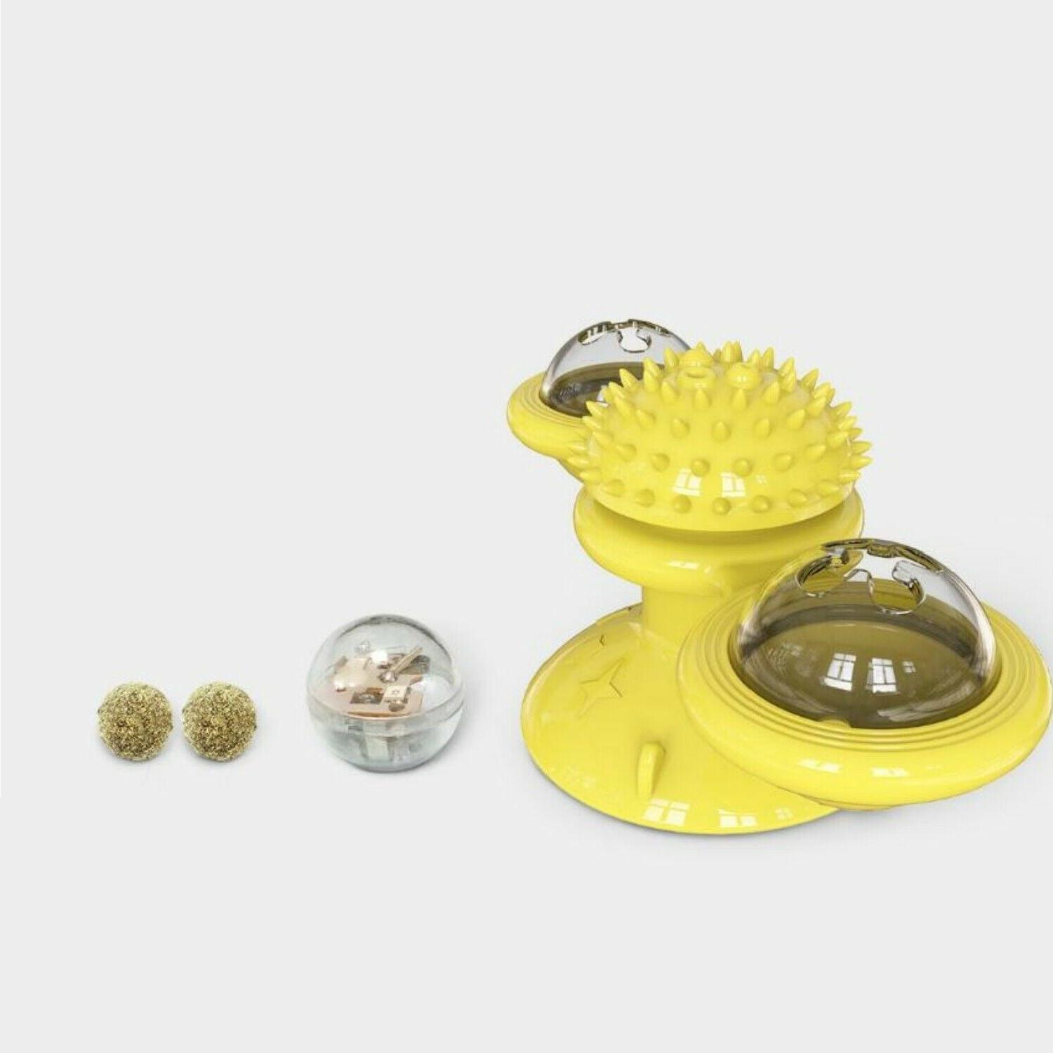 Windmill Cat Fidget Spinner for LED and Catnip - Yellow