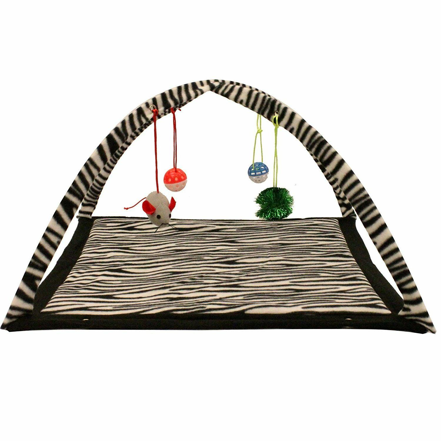 "Zebra Print Play Tent Dangle Pet Kitty 22""x23""x13 NEW"