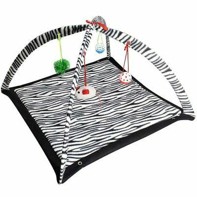 Zebra Print Cat Play Tent Dangle Toys Pets Sleep Play Bed Pa