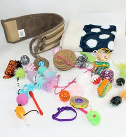 LARGE LOT of Cat Toys, Crinkle Bag, Scratching Pad, etc.  NE