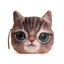Ai-life Lifelike Cat Face Zipper Bag Coin Case Money Plush P