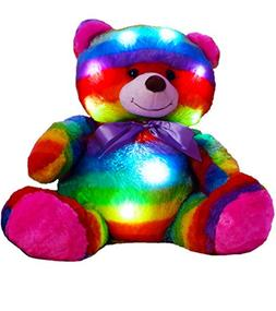 "The Noodley 14"" LED Light Up Rainbow Teddy Bear with Timer C"