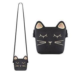 Deoot Little Girls Purses Black Cute Cat Shoulder Crossbody