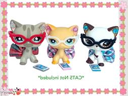Littlest Pet Shop Clothes LPS Accessories Random 4PC NERD Lo