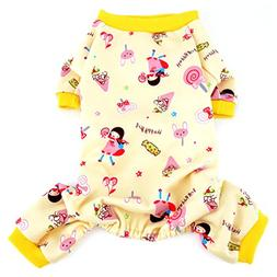 Ranphy Lollipop Print Small Dog Cat Fleece Pajamas Soft Cozy